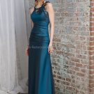 Halter Key Hole Neck Long Bridesmaid Dress Teal Blue Taffeta A-line Bridal Evening Dress