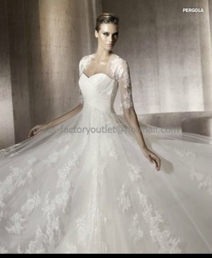 Strapless 3/4 Sleeves Jacket Pergola Bridal Gown Pleated White Lace Tulle A-line Wedding Dress PV321