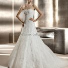 Strapless Berta Bridal Gown White Alencon Lace Applique A-line Wedding Dress Free Petticoat PV320