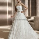 Free Bustle Strapless Berlin Bridal Gown White Alencon Lace  A-line Wedding Dress Beaded Sash