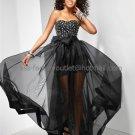 Strapless Jeweled Black Pink Blue Organza Bridal Evening Dress A-line Prom Dress Custom Formal Dress