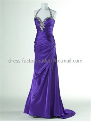 Jeweled Halter Hot Pink Blue White Bridal Evening Dress A-line Prom Dress Formal Dress