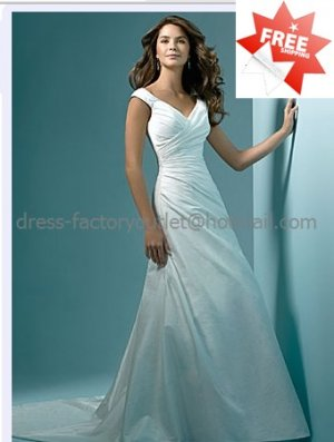 A-line Classical Bridal Gown Custom Cap Sleeves Simple Ivory White Wedding Dress