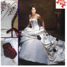 A-line Bridal Gown Strapless Embroidered Satin Red Accent Ivory White Wedding Dress