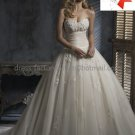 A-line Classical Bridal Gown Custom Strapless Champagne Tulle Ivory White Wedding Dress