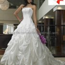 A-line Princess Bridal Gown Custom Pleated Taffeta Strapless Ivory White Wedding Dress