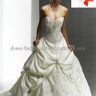 A-line Princess Bridal Gown Strapless Embroidered Pleated Satin Beaded Ivory White Wedding Dress