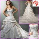 A-line Princess Bridal Gown Custom Pleated Taffeta Strapless Ivory White Wedding Dress mg560