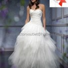 A-line Bridal Ball Gown Custom Strapless Tiered Tulle Ivory White Wedding Dress