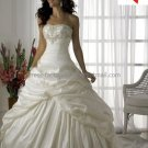 A-line Classical Bridal Gown Custom Strapless Pleated Taffeta Ivory White Wedding Dress