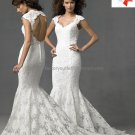 Alencon Lace Bridal Gown Custom Cap Sleeves Hollow Back Ivory White Mermaid Wedding Dress AL328