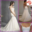 Alencon Lace Bridal Gown Custom Cap Sleeves Organza Applique Ivory White Mermaid Wedding Dress L22