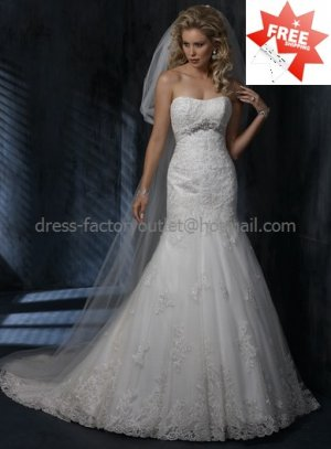 Beaded Lace Bridal Gown Custom Strpless Tulle Applique Ivory White Mermaid Wedding Dress L25