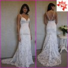 Discount  Lace Bridal Gown Custom Spaghetti Straps Ivory White Mermaid Wedding Dress L12