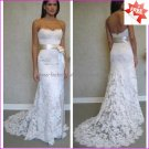 Discount  Lace Bridal Gown Custom Strapless Ivory White Mermaid Wedding Dress L16