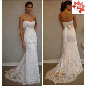 Discount  Lace Bridal Gown Custom Strapless Ivory White Mermaid Wedding Dress L17