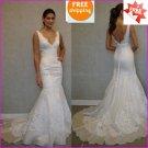 Lace Bridal Gown Custom V--neck Organza Applique Ivory White A-line Wedding Dress L19