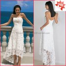 Discount  Lace Tea Length Bridal Gown Strapless Ivory White A-line Beach Short Wedding Dress H018