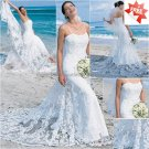 Discount  Lace Edge Bridal Gown Custom Spaghetti Straps Ivory White Sheath Beach Wedding Dress H017