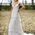 Discount  Lace Edge Bridal Gown Custom Cap Sleeves Ivory White Sheath Pregnant Wedding Dress L05