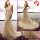 Discount Lace Bridal Gown V-neck Back Champagne Shrimp Wedding Dress L21