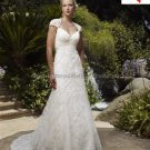 Discount  Lace Edge Bridal Gown Custom Cap Sleeves Hollow Back Ivory White Wedding Dress L27
