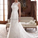 Discount  Alencon Lace Bridal Gown Boat Neck A-line Ivory White Wedding Dress W281