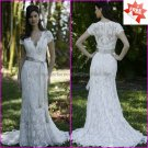 Chantilly Lace Bridal Gown Boat Neck  Sheath Short Sleeves White Wedding Dress L28 Silver SASH