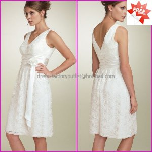 Short Lace Bridal Gown V-Neck  A-line Knee Length White Wedding Dress L29