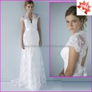 Chantilly Lace Bridal Gown V-Neck  A-line Short Sleeves Hollow Back White Wedding Dress L30