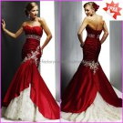 Beaded Red Taffeta Bridal Gown Strapless Mermaid Champagne Lace Wedding Dress C41