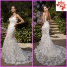 Luxury Alencon Lace Bridal Gown Spaghetti Straps Mermaid Wedding Dress L26