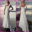 A-line One Shoulder Chiffon Bridal Gown Pleated Empire Waist Beach Wedding Dress A57
