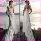 A-line Flowers One Shoulder Chiffon Bridal Gown Pleated Empire Waist Beach Wedding Dress A58