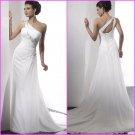 A-line Flowers One Shoulder Chiffon Bridal Gown Pleated Empire Waist Beach Wedding Dress A67