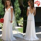 A-line Cap Sleeves White Chiffon Bridal Gown Applique Empire Waist Pregnant Wedding Dress CL15