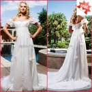 A-line Off Shoulder White Chiffon Bridal Gown Applique Empire Waist Pregnant Wedding Dress H03