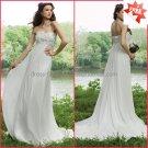 A-line Strapless White Chiffon Bridal Gown Applique Empire Waist Pregnant Wedding Dress H04