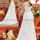 A-line Spaghetti Straps White Chiffon Bridal Gown Applique Empire Waist Pregnant Wedding Dress L42