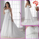 A-line Strapless White Chiffon Bridal Gown Jeweled Empire Waist Wedding Dress Lace Up Back MN055