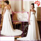 A-line Strapless Ivory Chiffon Bridal Gown Embroidered Jeweled Empire Waist Pregnant Wedding Dress