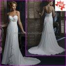 A-line Strapless Sweetheart White Chiffon Bridal Gown Prom Dress Jeweled Empire Waist Wedding Dress