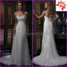 A-line Strapless White Chiffon Bridal Gown Pleated Prom Dress Empire Waist Wedding Dress Laces Back