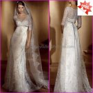 A-line White Lace Bridal Gown  V-neck Long Sleeves Wedding Dress Free Silver Sash