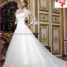 A-line White Tulle Lace Bridal Gown  Strapless Wedding Dress Free Long SleevesJacket