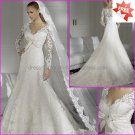A-line White Lace Bridal Gown Strapless Long Sleeves Lace top Wedding Dress