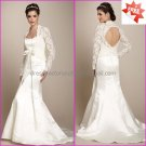 Hot Sale White Satin Mermaid  Bridal Gown Free Long Sleeves Lace Jacket  Wedding Dress
