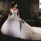 A-line White Lace Applqiue Tulle Bridal Gown Off Shouler Corset Top Wedding Dress Cathedral Train