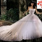 A-line White Lace Applqiue Tulle Bridal Gown Strapless Corset Top Wedding Dress Cathedral Train