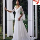 A-line White Chiffon Long Lace Sleeves Bridal Gown V-neck Wedding Dress Sweep Train
